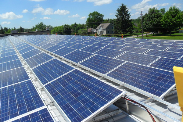 Rooftop solar panels tilted up