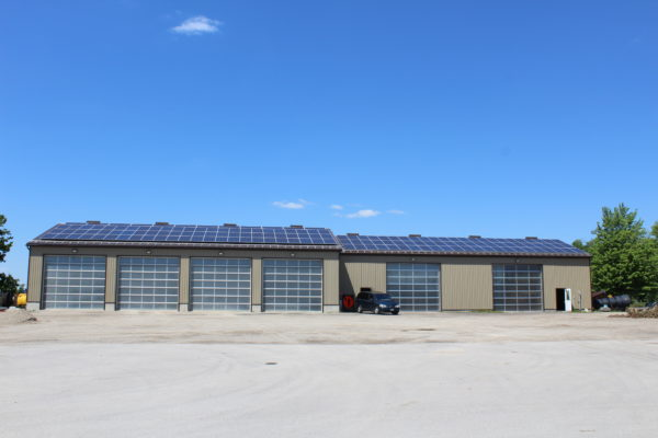 Solar panels on garage and ofifice