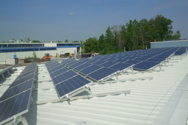 Solar panels being installed
