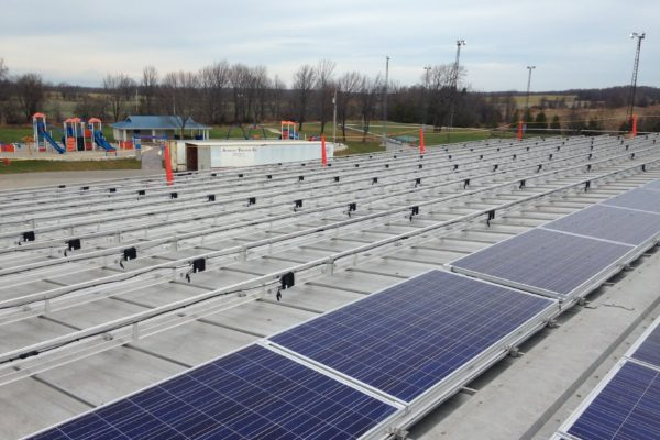 Roof top solar panels and racking